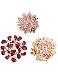 Prettyia 3pcs Mode Bijoux Echarpe Foulard Broche Clip en Fleur, Perles et  Cristal Magnifique Cadeau fd3ecf460fb