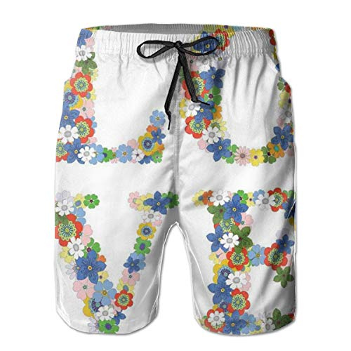 Men Swim Trunks Beach Shorts,Romantic Word Lettering with Colorful Blossoming Flowers Joyful Valentines Day Theme M -