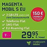 Telekom Magenta Mobil S EU Allnet Flat mit 2 GB LTE Internet Flat max. 300 MBit/s,  Telefonie- und SMS-Flat in alle dt. Netze, HotSpot-Flat, EU Flat, 24 Monate Laufzeit, monatlich nur 29,99 EUR statt 39,99 EUR + Cashback in Höhe von 150 EUR, Triple-Sim-Karten