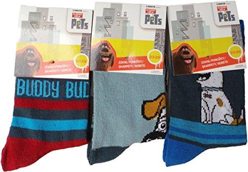universal-studios-pets-socken-3er-pack-buddy-hellblau-blau-rot-mehrfarbig-gestreift