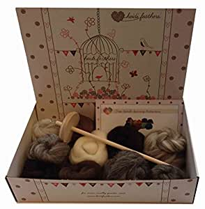Drop Spindle Spinning Kit - With Natural Wool
