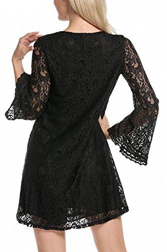 Frauen Elegant - Spitzen Reine Swing - Party - Kleid Black