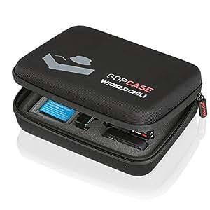 Wicked Chili GOP Case für GoPro Hero 4 / 3+ / 3 / 2 / 1 - Tasche für Kamera, Gehäuse, LCD, Akku, SD Karte und Zubehör (Größe: M, Utensilienfach mit Zipper und Trageriemen)