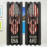 TIZORAX Totenkopf Farbe der American Flagge Vorhänge Verdunkeln Isoliert Blackout Fenster Panel Drapes für Wohnzimmer Schlafzimmer 139,7x 213,4cm, Set von 2Panels