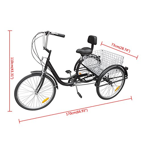 "51gt3f%2BpMKL. SS500  - Ridgeyard 24"" 6 Speed 3 Wheel Upgraded Fender Adult Trike Tricycle Bicycle Bike Cycling Pedal with Shopping Basket"