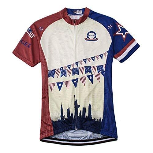 BIYINGEE Herren Fahrrad Trikot Kurz Sleeve Atmungsaktiv, Herren, Retro USA, Tag M = Chest 42.5