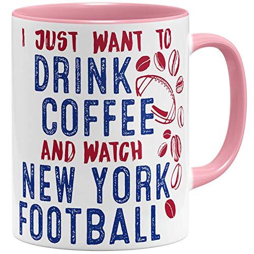 OM3® - New-York-Coffee - Tasse | Keramik Becher | American Football Mug | 11oz 325ml | Beidseitig Bedruckt | Rosa