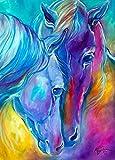 DIY 5D Diamant-Gemälde von Nummer Kits, zwei farbigen Pferde Full Strass Stickerei Kreuzstich Bilder Arts Craft für Home Wand-Dekor, 30x 40cm
