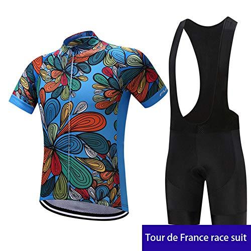 WDDP Moda Maglia Ciclismo Jerseys per Uomo: Corta Manica Tuta Estivo + Pantaloni Corti di Ciclismo