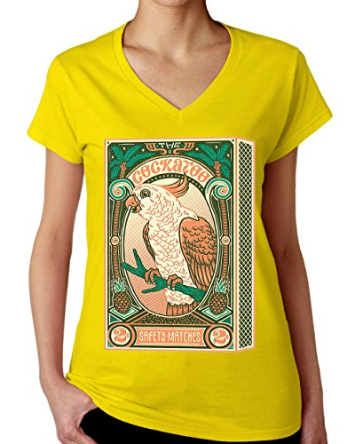 The Cockatoo Matches Box Design Women's V-Neck T-Shirt XX-Large (T-shirt Parrot Cockatoo Tee)
