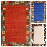 Morgenland Luxus Gabbeh Loribaft Teppich ELITE 140 x 70 cm Rot Orange Flur Diele Einfarbig Bunt Bordüre Orient Teppich 100% Handgeknüpfter Teppich Dick Weich Kuschelig Schurwolle Wollteppich Modern Klassisch - In Rot Blau Weiß, Viele Größen