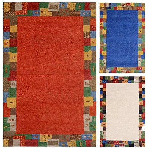 Morgenland Luxus Gabbeh Loribaft Teppich ELITE 350 x 250 cm Rot Orange Wohnzimmer Einfarbig Bunt...