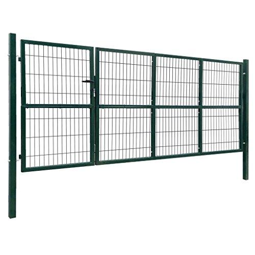 mewmewcat Gartentor mit Pfosten Metall Tür Gitterzaun 350 x 140 cm Inklusive 3 Schlüssel Stahl Grün