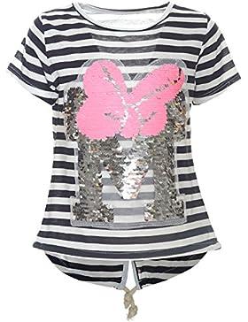 BEZLIT Kinder Mädchen Wende Pailletten T-Shirt Bluse Kurzarm Sweat Shirt 21255