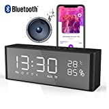 Bluetooth Lautsprecher mit 2 Digital Wecker+FM Radio, LED-Anzeige, Sprachanruf, TF-Karte, Aux-Kabel,Uhr,Wireless Tragbar Lautsprecher mit Extra Großem Display Schwarz