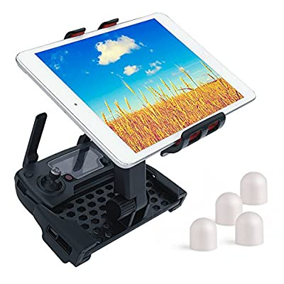 KUUQA Upgrade Version Extended Mount for Dji Mavic Pro Remote Controller Device Holder to Clip Ipad, Galaxy Tab 4-12 Inch Tablets with 4 Pack Motor Covers