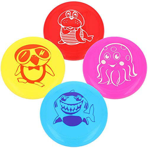 com-four® 4X Frisbee für Kinder und Erwachsene - Wurfscheibe auch für Hunde - Frisbeescheibe zum Spielen - Flugscheibe in bunten Farben [Auswahl variiert] (04 Stück - Tiermotive)