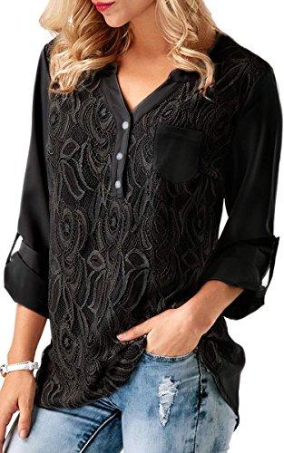 ECOWISH V Ausschnitt Damen Top Spitzen Oberteil Casual Tunika Langarm Shirt Bluse Schwarz 3XL (Bluse Tunika Top)