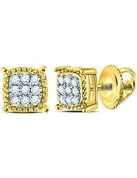 Bijoux par Lux pour homme Or jaune 10 carats Diamant rond carré milgrain  Cluster Boucles d c1b26032a4f2