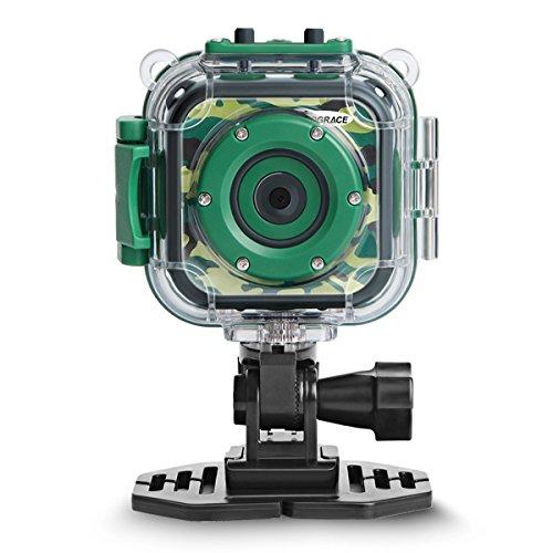 DROGRACE Digitalkamera Kinderkamera Video Kamera wasserdicht Action Cam Unterwasserkamera Helmkamera Einsteigerkamera für Kinder Geburtstagsgeschenk Urlaubsbegleiter (Grün) (Europa auf Lager)