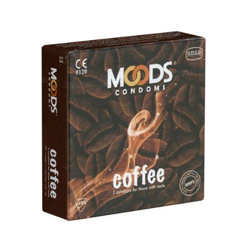MOODS Coffee Condoms - 3 Kondome mit Kaffee-Aroma, Geschenk-Idee für Männer und Kaffee-Liebhaber(innen)