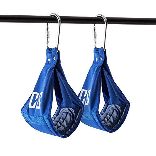 CAPITAL SPORTS Armlug • Armschlaufen • AB Slings • Bauchtrainingsschlaufen • Schlaufentrainer • Bauch- und Ganzkörpertraining • Auflage: 19 cm • weich gepolstert • Metall-Karabinerhaken • Sicherheitsverschluss • Tragkraft: max. 120 kg • blau
