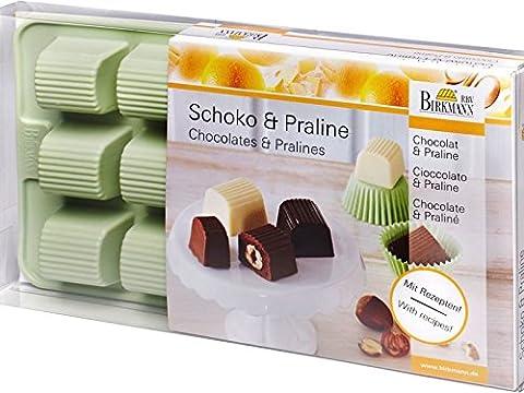 Birkmann 251786 Trésor Moule pour Chocolat/Praliné pour 15 Pralinés Silicone Vert 21,8 x 12,0 x 3,0 cm
