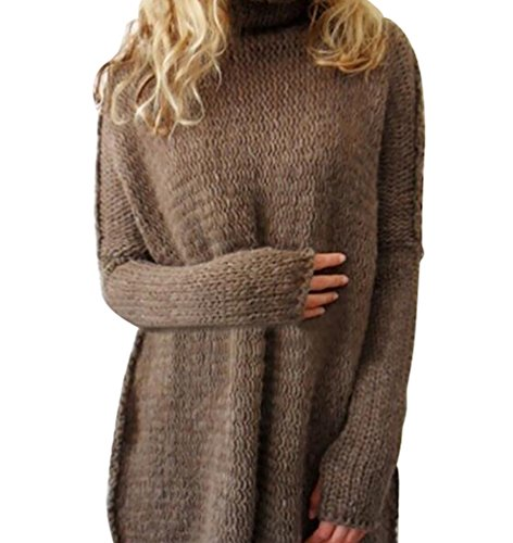 YOUJIA Damen Lässige Rollkragen Strickpullover Pullover Kleid Strickkleid Mit Daumenloch (Kaffee, XL)