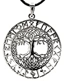 Pendentif avec grand arbre de vie et runes en argent Sterling poinçon 925