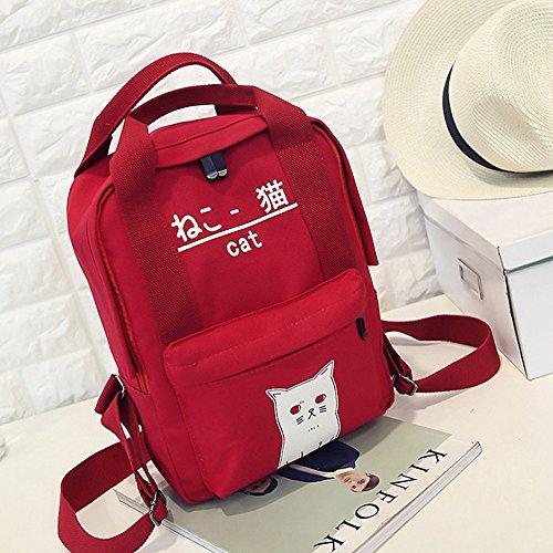Moda Spalla Borsa,Kword Donne Adolescente Ragazzo Carino Gatto Stampato Cerniera Zaino Scuola Borse Stile Giapponese Rosso