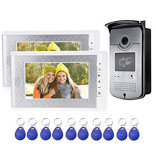 uoweky 2 Monitor Home Videocitofono Videocitofono Sistema di Controllo Accessi Telecamera RFID 7 '' Schermi a Colori TFT Supporto Sblocco EM + 10pcs ID Blue Keyfob