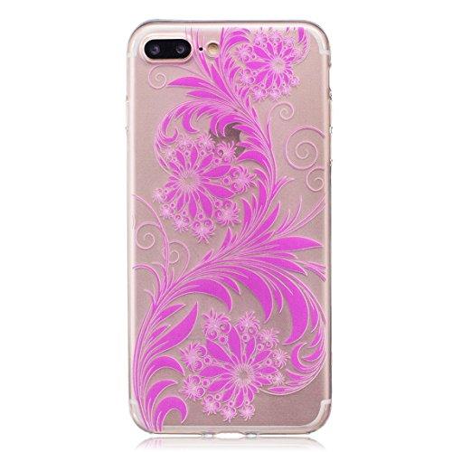 iPhone 7 Plus Hülle, Voguecase Silikon Schutzhülle / Case / Cover / Hülle / TPU Gel Skin für Apple iPhone 7 Plus 5.5(Blumen und Gras/Rote) + Gratis Universal Eingabestift Blumen und Gras/Rosa