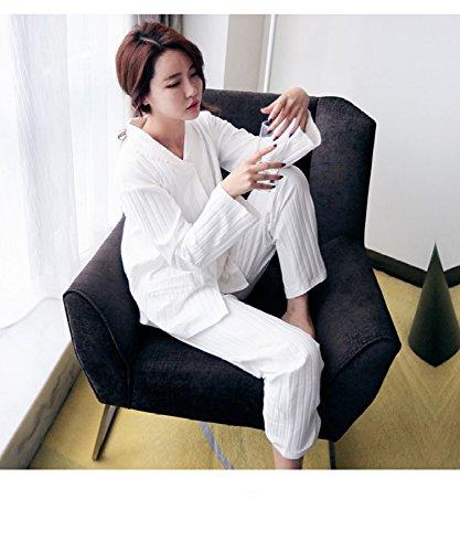 YI Herbst und Winter Südkorea Simple Baumwolle Simple Fresh Strickjacke lose Casual Schlafanzüge Damen passt Home Service m weiß