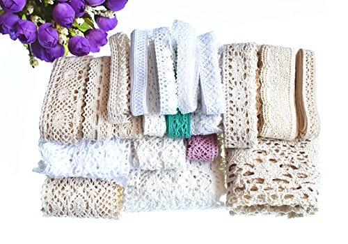 Kostüm Collection Crochet - RayLineDo® 20 m Sortiert Vintage Stil Baumwolle Spitze Trim Bridal Hochzeit Zierrand Crochet Spitze DIY Nähen Zubehör Collection A