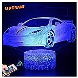 3D Auto Lampe LED Nachtlicht mit Fernbedienung, USlinsky 7 Farben Wählbar Dimmbare Touch Schalter Nachtlampe Geburtstag Geschenk, Frohe Weihnachten Geschenke Für Mädchen Männer Frauen Kinder