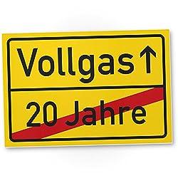 DankeDir! Vollgas (20 Jahre) Kunststoff Schild - Geschenk 21. Geburtstag, Geschenkidee Geburtstagsgeschenk Einundzwanzigsten, Geburtstagsdeko/Partydeko/Party Zubehör/Geburtstagskarte
