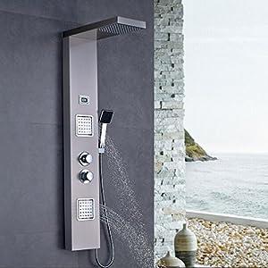 Auralum Columna Hidromasaje Ducha Termostatica con pantalla LCD, Grifo Ducha Termostatico con el Botón de Seguridad 38 ℃