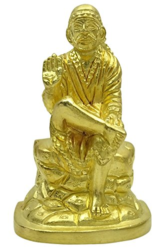 Brass Seigneur Religious ton or Sai Baba Statue de voiture Bureau Table Décor Figurine