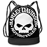 Borse da palestra, Zaini, Harley Skull Drawstring Bag Bundle Backpack Rowing Backpack Sport Bag for Men & Women
