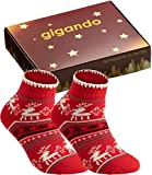 gigando | Kuschelsocken für Damen | Anti-Rutsch Sohle trifft Weihnachts Design | 2 Paar | rot | 39-42