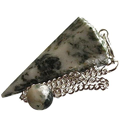 Healing Gemstone Crystal Point Pendulum - Divination, Dowsing, Scrying (Tree Agate)