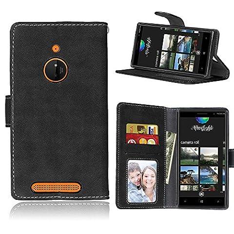 BONROY® Tasche Hülle für Handyhülle für Nokia Lumia 830 N830 Retro matte Leder PU Leder Flip Schutzhülle Case Cover Etui Lederhülle mit Silikon Back Cover PU Leder Handytasche im Bookstyle Stand Funktion Kartenfächer Schale Stoßfest Handyhülle für Nokia Lumia 830