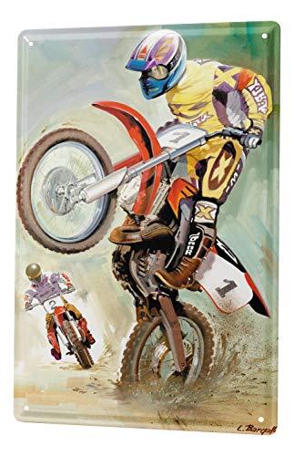 LEotiE SINCE 2004 Blechschild Wandschild 30x40 cm Vintage Retro Metallschild Nostalgie Motorrad Motocross Biker Wheelie