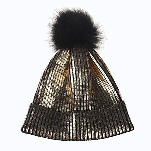 Tinksky Womens Beanie Hats Knitted Winter Hats with Fur Pom Pom Hats Cap Metallic Shiny Beanie for Women Girl Christmas Party Hats(Gold)