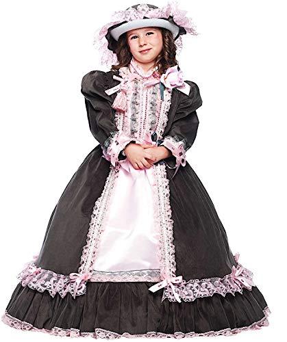 Costume di carnevale da dama dell'800 baby vestito per bambina ragazza 1-6 anni travestimento veneziano halloween cosplay festa party 50708 taglia 3