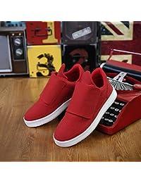 XIAOLIN- Frühling Und Herbst Herrenschuhe Freizeitschuhe Atmungsaktiv Plate Schuhe ( Farbe : Rot , größe : EU43/UK9/CN44 )