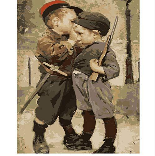 WAZHCY Bild Auf Wand Acrylfarbe Nach Zahlen DIY Malen Nach Zahlen Einzigartiges Geschenk Ölgemälde Child Soldiers 40X50 cm,Mit Holzrahmen,D