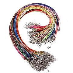 Idea Regalo - JuanYa corde cerate con chiusura a moschettone per la creazione di gioielli fai da te 100 pezzi 45.7 cm 1.5 mm Mixed Color