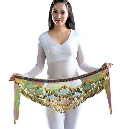 YuanDian Mujer 328 Monedas Diamante Artificial Triángulo Danza del Vientre Cinturon Cadera Pañuelo Bufanda Colorido Hilado Profesional Tribal Egipcio Danza Oriental Cadena Cintura Color