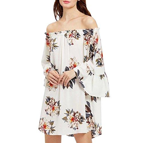 Vestidos Mujer, Magiyard Casual impreso fuera de hombro mariposa manga de una línea de gasa vestido (S, Blanco)